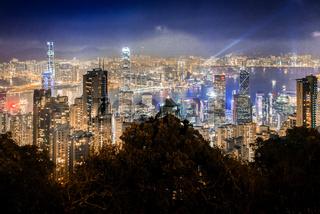 Hong Kong skyscrapers, skyline and port at night, Hong Kong, Asia