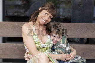 Happy boy and mother