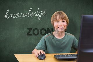 Knowledge against green chalkboard