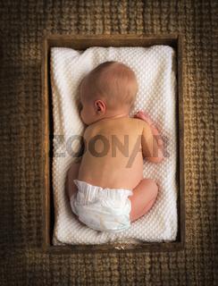 Newborn Baby In Crate