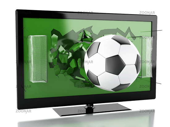 3d Tv screen with soccer field and ball.