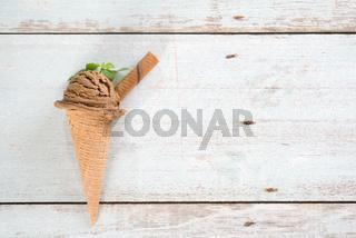 Top view cocoa ice cream