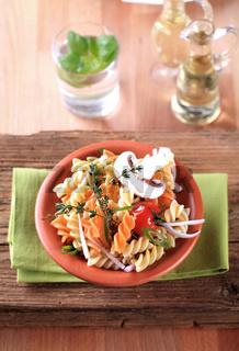 Tri-color corkscrew pasta