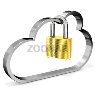 3d metallic cloud with padlock