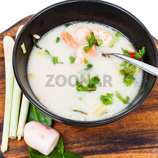above view of thai soup Tom yam and ingredients