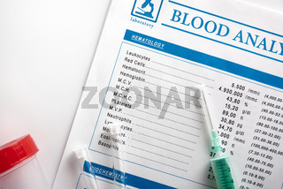 Blood test report with vials urine container and syringe top