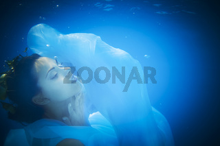 Underwater close up portrait of a woman
