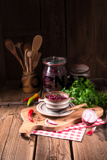 spicy red cabbage Sauerkraut
