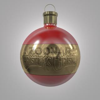 Christbaumkugel mit der Aufschrift 'Merry Christmas'