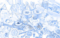 lots of car parts, sketch