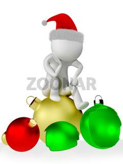 Human figure sitting on Christmas ball
