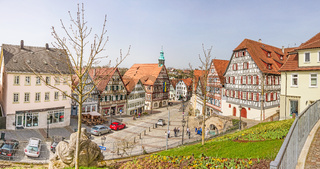 Backnang, city center panorama with tonwhall