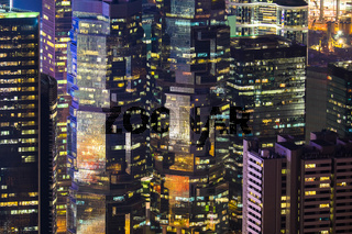 Abstract futuristic night cityscape. Hong Kong