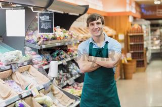 Portrait of man grocer smiling