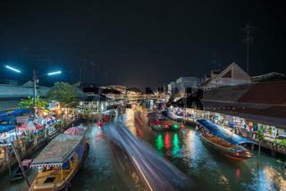 Night lights of Amphawa floating market, Thailand
