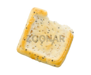 Broken square cracker isolated