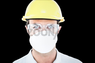 Composite image of worker wearing protective mask and glasses