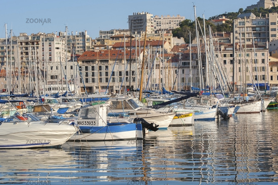 France, Marseille - August 6, 2013: View of the boats in the port of Marseilles.