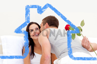 Composite image of husband giving a rose and a kiss to his beautiful wife