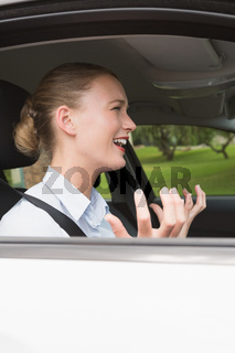 Young businesswoman experiencing road rage