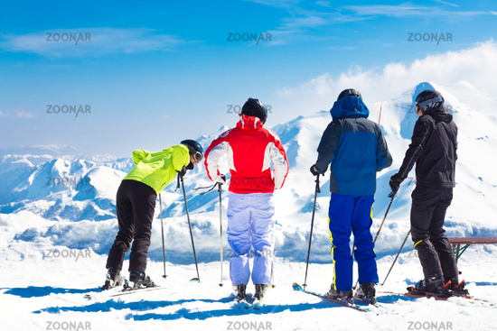 Group of friends skiing.