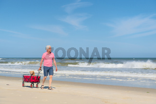 Senior man walking with dog at beach