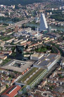 Basel, Schweiz, Messeareal und Roche Hochhaus