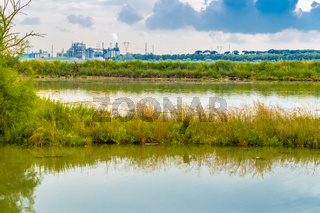 brackish lagoon and industries