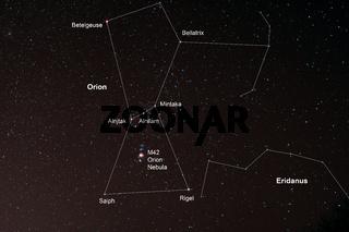 Nachthimmel mit Orion und Orionnebel