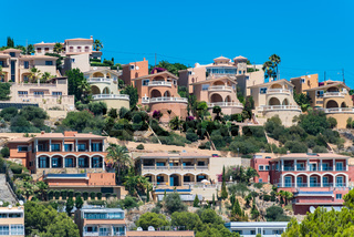 Apartments and luxury residential houses built on Santa Ponca hill