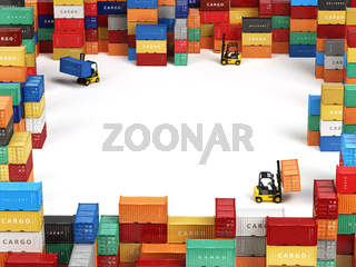 Cargo shipping containers in storage area with forklifts and space for text. Delivery transportation concept.