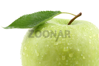 Makro grüner Apfel Frucht mit Blatt Freisteller