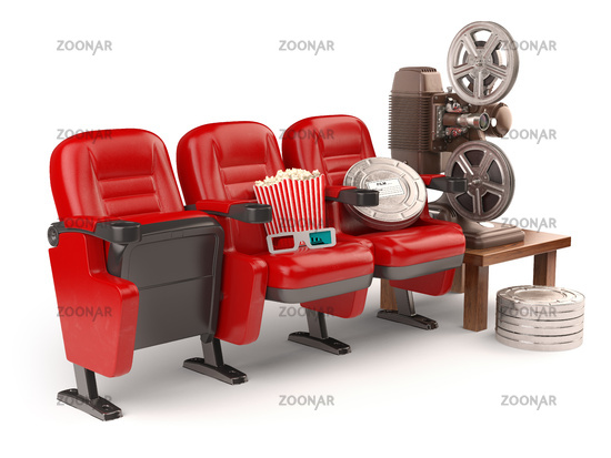 Cinema, movie or home video concept. Seats with reels, popcorm and  projector isolated on white.