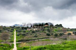 Morgantina settlement under rainy clouds, Sicily
