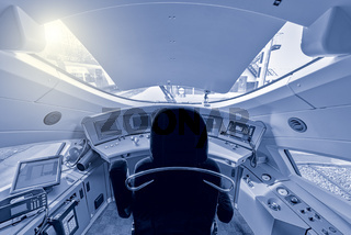 Highspeed train cockpit.