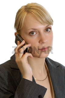 Business girl with a mobile phone