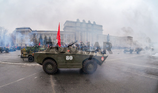 Reenactment of the battle near Moscow in 1941 at t