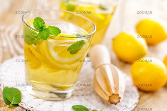 summer citrus lemonade drink with fresh lemon and mint