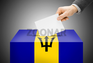 Voting concept - Ballot box painted into national flag colors - Barbados