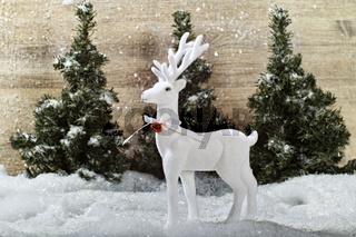 Weißer Hirsch in weihnachtlicher Kulisse
