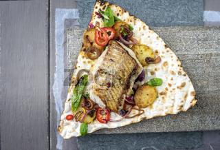 Codfish Filet with Vegetable on Yufka Bread