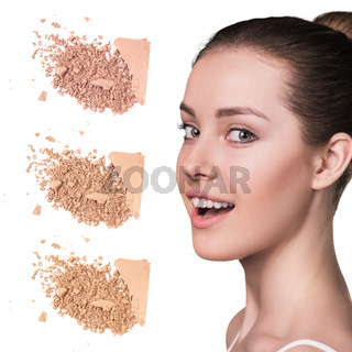 Young girl with loose powder