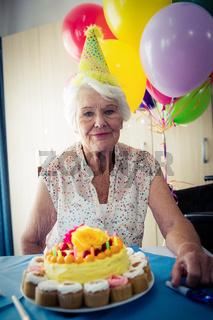 Senior woman celebrating her birthday