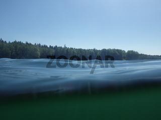 Halb-Unterwasserbild am Badesee