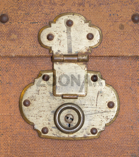Old canvas trunk lock close up