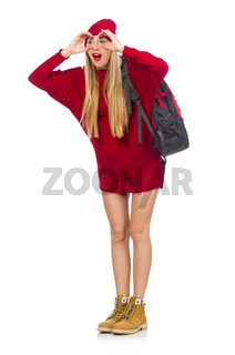 Pretty girl in red dress and backpack isolated on white