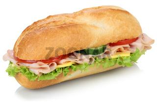 Sandwich Baguette belegt mit Schinken Freisteller