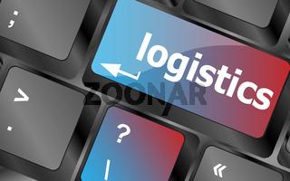 logistics words on laptop keyboard, business concept vector , keyboard keys, keyboard button