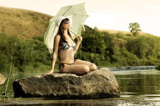 girl on river