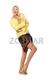 Happy model wearing yellow blouse isolated on white
